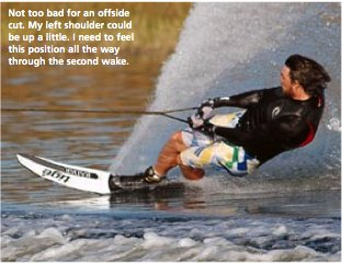 Chris Rossi slalom skiing on an off side cut
