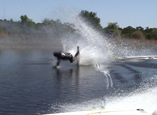 water ski crash over the front at the finish of the turn